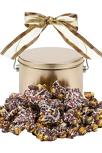 Frosty's Chocolate-Drizzled Peppermint Caramel Popcorn: Gourmet Caramel Covered Popcorn with Chocolate Drizzle and Crushed Peppermint for a Cool Christmas Treat - 1lb Tin – Unique Holiday Gift (Cheap Chocolate Gifts)