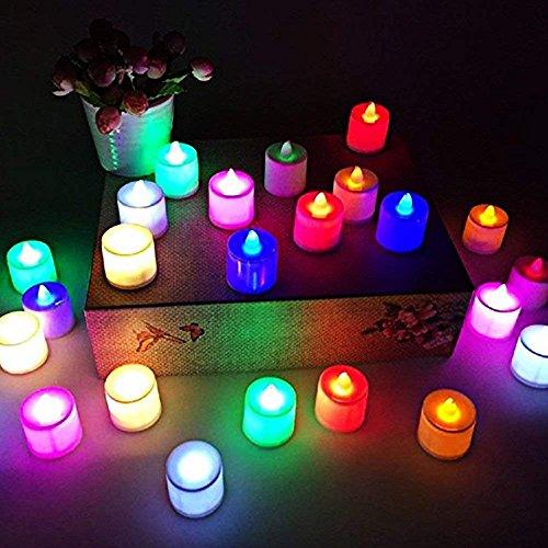 LED Tea Light Candles, Flameless Realistic Electric Votive Mood Light Candles, Decorative Fake Tea Light 24 Pack