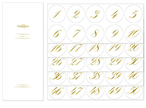 UNIQOOO Gold Foil Print Round Stickers, Table Numbers 1-50 on Off White Waterproof Paper, 2 x 2 Inch, Great for Wedding Home Office Event Party Decoration