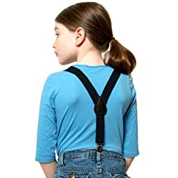 Suspenders for Kids Boys and Baby - Premium 1 Inch Suspender Perfect for Tuxedo - Black (26\