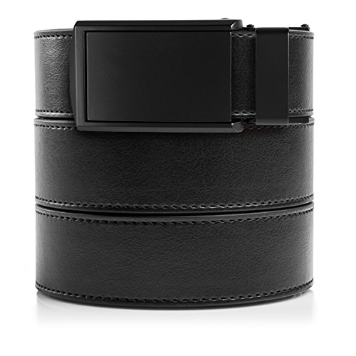 Belt Matte - SlideBelts Men's Animal-Friendly Leather Belt without Holes - Matte Black Buckle / Black Leather (Trim-to-fit: Up to 48