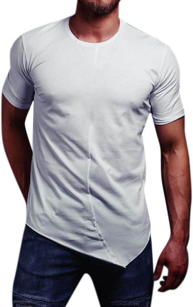 Oliviavan Camiseta de Manga Corta para Hombre,Camiseta para Hombre Elegante Slim Fit Color sólido de Empalme de Moda Casual Dobladillo Irregular Cuello Redondo Manga Corta Man White T-Shirt: Amazon.es: Ropa y accesorios