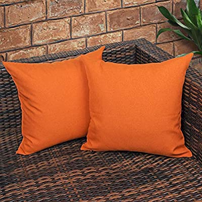 CZHO Pack of 2, Decorative Outdoor Waterproof Throw Pillow Covers, Square UV Protection Garden Cushion Case, PU Coating Pillow Shell for Patio, Porch and Balcony (Orange,18x18 Inch) - MATERIAL: 100% durable canvas polyester with PU coating, which ensures its softness, strong water resistance as well as UV protection. So it won't get fading when exposure under the sun for a long time. PACKAGE: Include 2 pcs 18 x 18 Inch / 45X45cm Orange Outdoor Cushion Covers ONLY. NO CUSHION INSERTS. DESIGN & FEATURES: Same design / pattern on BOTH SIDES of these orange throw pillow covers. These REVERSIBLE pillow shams come with INVISIBLE ZIPPER (Sturdy and Smooth) for elegance. Large opening(16 inch approx.) for EASY INSERTION and removal of pillows. Tight zigzag over-lock stitches to avoid fraying and ripping. - patio, outdoor-throw-pillows, outdoor-decor - 51FD3usVs6L. SS400  -