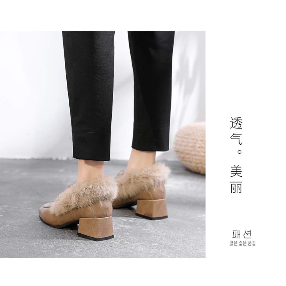 Qingchunhuangtang Einbeinige Damenschuhe Britische Britische Britische Damenschuhe Herbst und Winter Damenschuhe Wilder quadratischer Kopf dick mit Damenschuhen 3dc755