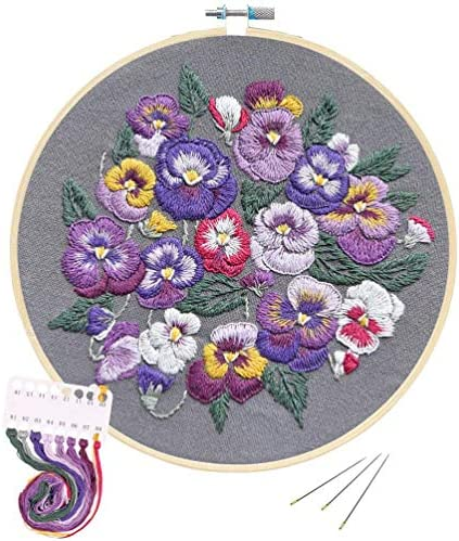 Full Range of Embroidery Starter Cross Stitch Kit Stamped Embroidery Kit Including Embroidery ClothPattern Bamboo Embroidery Hoop Colors Embroidery Floss Threads Set (Full of Spring)