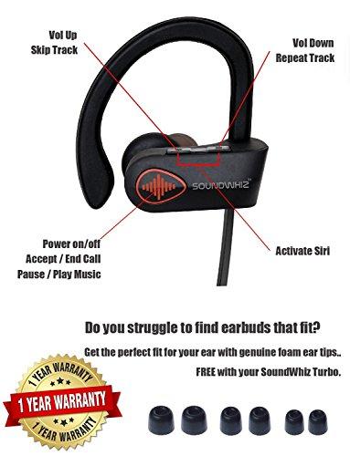 759e265498c Wireless Bluetooth Running Headphones. SoundWhiz Noise Cancelling Waterproof  Workout Earbuds - w Mic & Siri