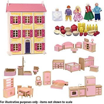 Dolls House Emporium Battenburg Hall Painted Flat Pack Kit, Including Six  Sets Of Pink Furniture