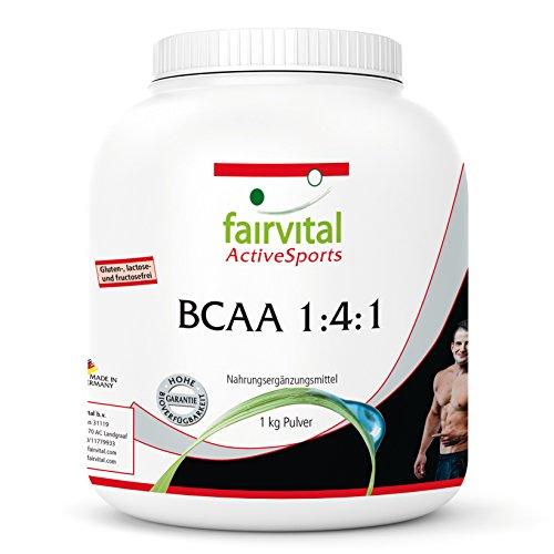 BCAA 1:4:1 - 1kg Pulver - verzweigtkettige Aminosäuren L-Leucin L-Valin L-Isoleucin - Reinsubstanz
