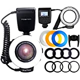 Photo : Ring Flash, FOSITAN 48 LEDS Macro Ring Flash Light for Nikon Canon, Macro Photography Light with LCD Display Power Control, 4 Flash Diffusers, 8 Adapter Rings for Nikon Canon DSLR Camera