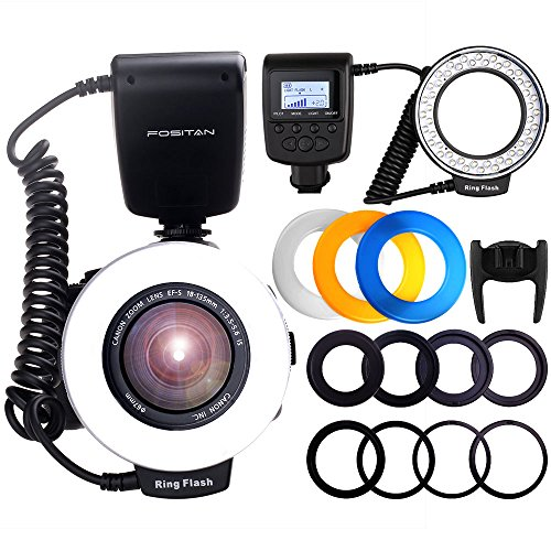 Digital Macro Ring - Ring Flash, FOSITAN 48 LEDS Macro Ring Flash Light for Nikon Canon, Macro Photography Light with LCD Display Power Control, 4 Flash Diffusers, 8 Adapter Rings for Nikon Canon DSLR Camera