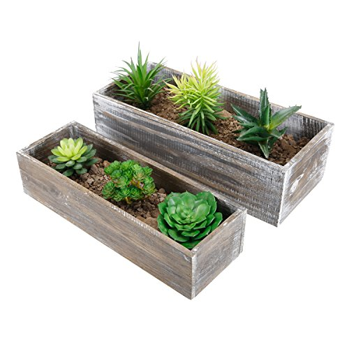 Country Rustic Brown Wood Succulent Planters, Windowsill Flower Pots, Set of 2