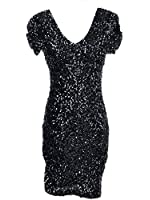 Anna-Kaci Small Fit Ruched Cap Sleeve Sequin Bodycon Dress