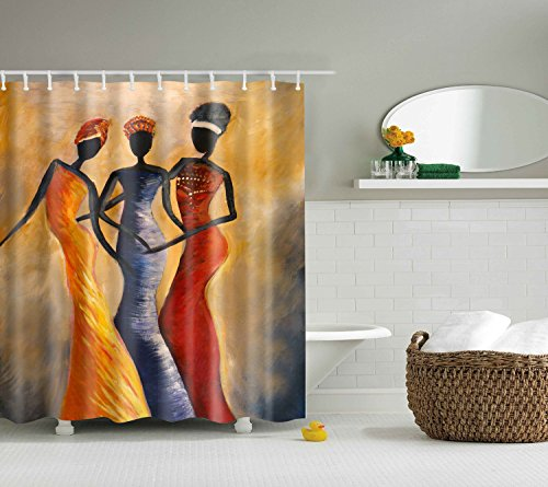 QEES Indian Girls Shower Curtain Art Print Decor Waterproof Anti Mildew Fabric Polyester Bath Curtain Sets with Free Hooks 72
