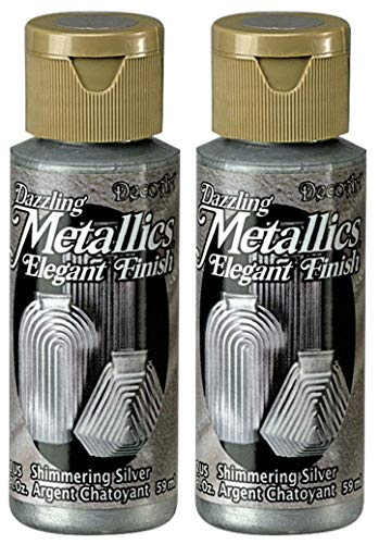 2-Pack - DecoArt Dazzling Metallics Acrylic Colors - Silver, 2-Ounces -