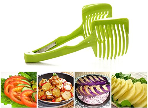 """Laytek Tomato Slicer, Multi-functional Handheld Tomato Round Slicer, Fruit Vegetable Cutter, Lemon Shredders Slicer, With the Special Hook 3 Material : ABS Mold Size :18.5 x 8 CM /7.3 """"X 3.1"""" Package Includes : 1 x HandHeld FruitS Round Slicer With this tomato slicer,you'll create perfect tomato slices everytime,This kind of fruit and vegetable slice assistant design novel, beautiful, bright color, easy to operate, safe and reliable. Add the tomato slicer along each gap from the top down the you could cut it into pieces"""