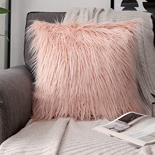 Phantoscope Decorative New Luxury Series Merino Style Orange Faux Fur Throw Pillow Case Cushion Cover 18 x 18 inches 45cm x 45cm (Blush Pillow Fur)