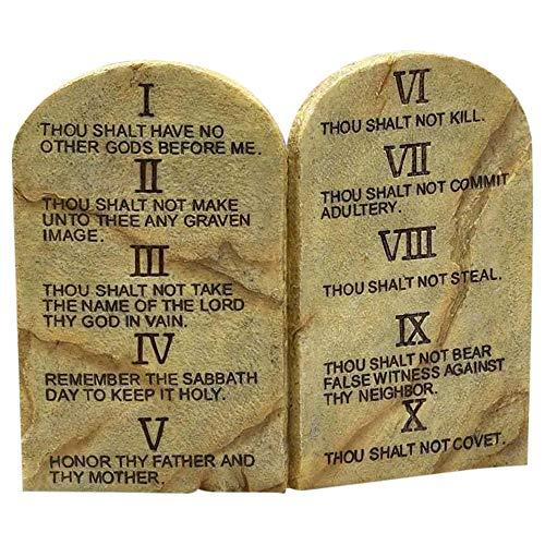 Ten Commandments Resin Stone 11 x 9 Wall or Tabletop - Art Stone Plaque