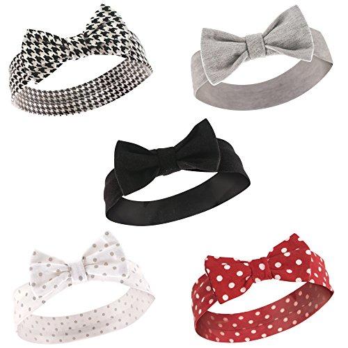 Hudson Baby Baby Girls' Cotton Headbands, Houndstooth 5 Pk, 0-24 Months ()