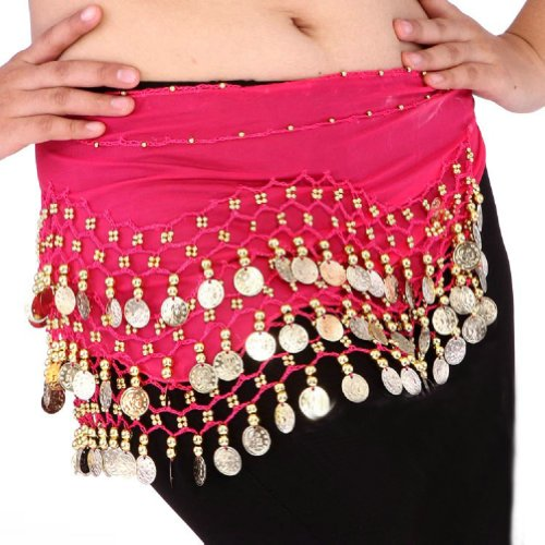 Chiffon Dangling Gold Coins Belly Dance Hip Scarf (Hot Pink) (Egyptian Halloween Accessories)