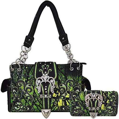 Camouflage Crown Buckle Western Style Concealed Carry Purse Country Handbag Women Shoulder Bag Wallet Set (Green Set) (Western Rhinestone Purse)