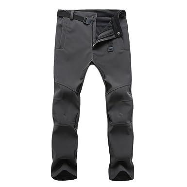 628c1b99618a9 Vertvie Homme Softshell Pantalon de Ski Cargo Doublé Fleece Polaire  Imperméable Pants Casual Respirant pour Activité Extérieure Camping  Randonnée  ...