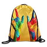 Men's Women's Painted Hands Colorful Fun Large Removable Waterproof Casual Runner Team Issue Daypack Gymbag Gym Drawstring Bags Sackpack Gift