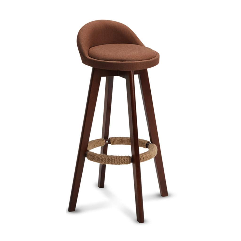 1 Bar Stool, Rectangular Bar Chair, High Stool with Backrest Seat, Brown and Grey Breakfast Cafe Bar, Maximum Load  150kg, (color    1)