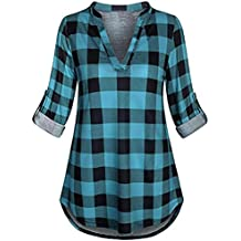 Rambling Fashion New Womens Split V Neck Rolled up Sleeve Plaid Casual Blouse Tops