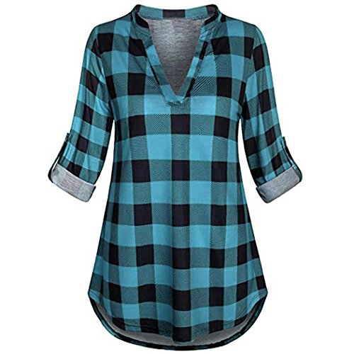 Womens Split V Neck Rolled up Sleeve Plaid Casual Blouse Tops (Vintage Button Wire)