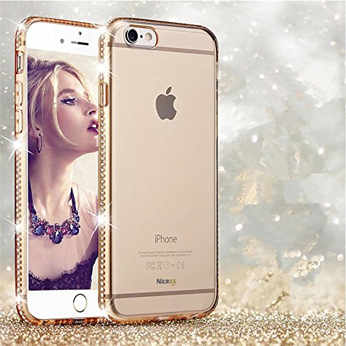 Rhinestone Iphone (Nicexx NEW iPhone 7 Clear Case with Rhinestone Gold Plated Frame Soft TPU Case Transparent Bling Glitter Case for iPhone 7)