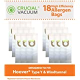 18 Type Y Paper Bags for Hoover Windtunnel Upright Vacuums; Compare to Hoover Part Nos. 4010100Y, 4010801Y, 43655082; Designed & Engineered by Think Crucial