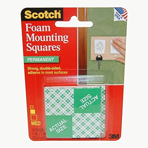 3M Scotch Precut Foam Mounting Squares Heavy Duty, 1 Inch, 16 (3m Scotch Foam Mounting)