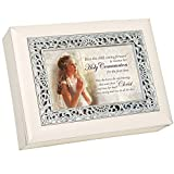 Cottage Garden Holy Communion Girl Kathy Fincher Ivory with Silver Inlay Jewelry Music Box Plays Amazing Grace