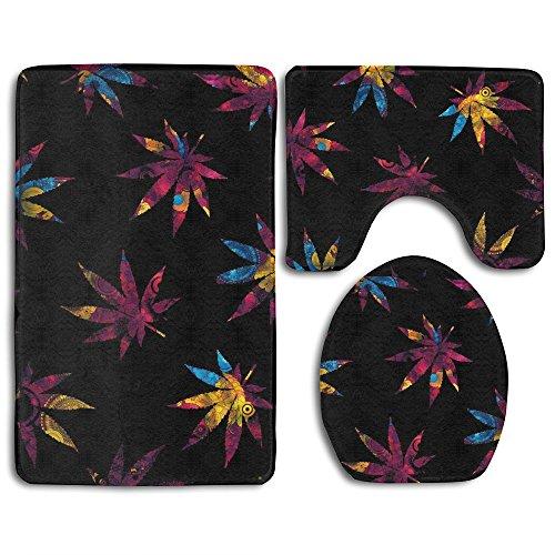 Bright Retro Flower Ganja 3 Piece Bathroom Mats Set Flannel Non-Slip Bathroom Rugs Contour Mat Toilet Cover -