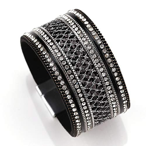 - MMYUSL Bracelet Women Leather Bracelet Femme Cystal Sequins Paved Bohemian Wide Cuff Bracelets & Bangles Female Jewelry