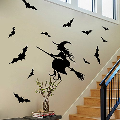 (BIBITIME Scary Halloween Wall Stickers Vinyl Home Decor Shop Window Decals Room Art Murals Pub Bar Indoor Scene Setter (Flying Witch and 12)