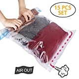 HOMEIDEAS 15 Pack Travel Space Saver Bags - Roll Up Storage Bags - Compression Bags for Clothes - No Vacuum or Pump Needed