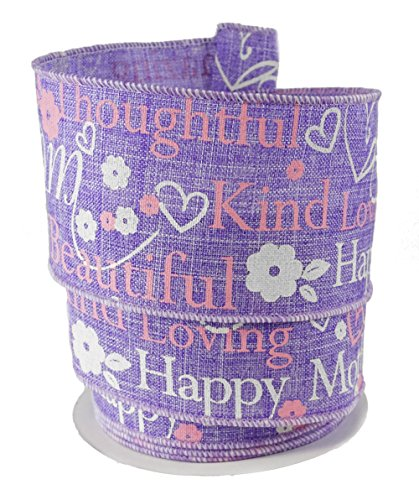 Mothers Day Ribbon (Happy Mother's Day Purple Wired Linen Ribbon #40 - 2.5