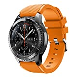 Memela New In (TM) 22MM For Samsung Gear S3 Frontier,Trend Sport Silicone Quick Release Soft Rubber Replacement Watch Bands (Orange 2)