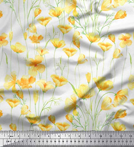 Soimoi White Cotton Voile Fabric Buttercup Floral Printed Craft Fabric by The Yard 56 Inch Wide - Printed Voile