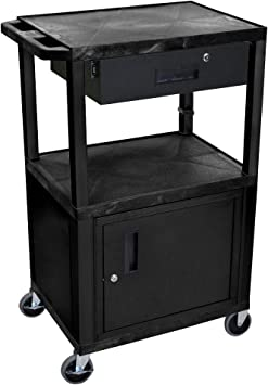 Amazon Com Offex 42 H Rolling Multipurpose Storage Utility Av Presentation Cart With 3 Shelves Locking Cabinet And Drawer Black Ideal For Video Projector Tv Laptop Computer Printer Stand Office Products