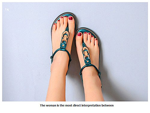 ShangYi Wild large size shoes summer sandals clip toe flat heel shoes student T-style buckle with Rome shoes green 5Kpgw2T