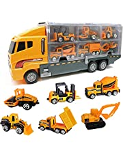 Mumoo Bear Die Cast Emergency Trucks Vehicles Toy Cars Play Set in Carrier Truck - 7 in 1 Transport Truck Emergency Car Set for Kids Gifts (Construction Vehicle Set)