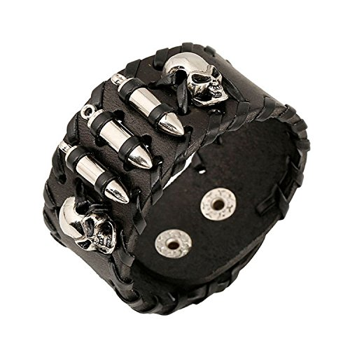 MORE FUN Punk Style Black Leather Cuff Bracelet Wristband Bullet Design with Skull Head Style (style 1)