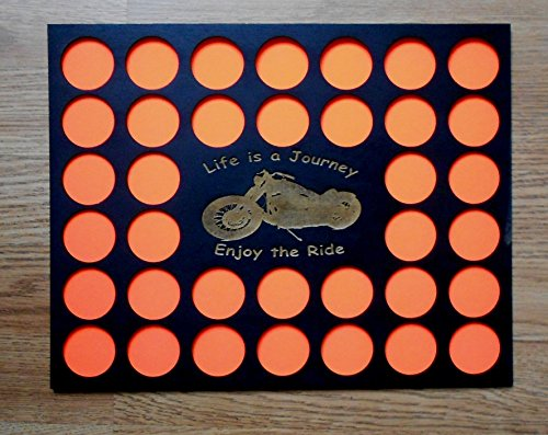 36 Poker Chip Frame Display Insert, Motorcycle engraved, laser cut insert, black chip insert, fits Casino and Harley-Davidson chips, custom-made
