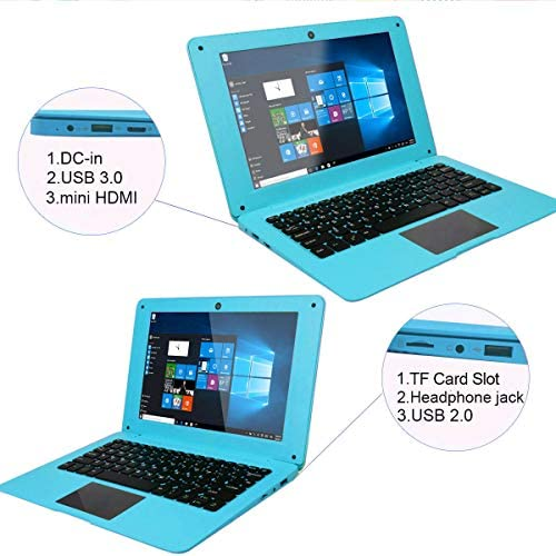 IDOL Laptop 10.1Inch Quad Core Ultra Thin PC, 2GB RAM 32GB Storage 1.92GHZ USB 2.0 Windows 10 HD Graphics WiFi, HDMI, BT, Supports 128GB TF-Card Notebook Computer (White) 51FD8JFN7PL