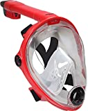 Deep Blue Gear Vista Vue Full Face Snorkeling Mask, Red/Clear Silicone, Large/X-Large