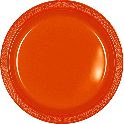 Budget Friendly Halloween Costume Ideas (Reusable Round Dinner Party Plates Tableware, Orange Peel, Plastic , 10