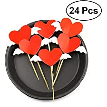 LUOEM Red Heart Cupcake Topper DIY Kit Cake Picks Cake Topper Decorations for Valentine's Day Wedding,Pack of 24