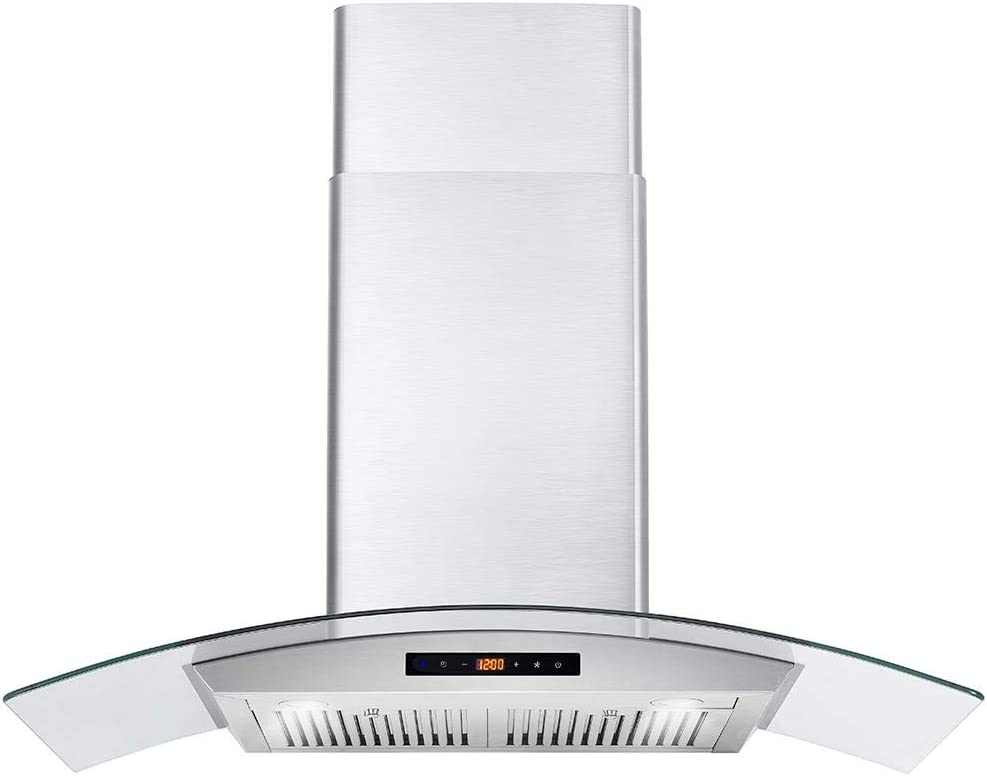 Cosmo 668WRCS90 Wall Mount Range Hood 760 CFM, 3 Speed Fan, LED Lights, Touch Control Panel, Tempered Glass, Permanent Filters, 36 inch, Stainless Steel